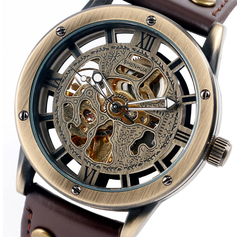 SHENHUA Famous Brand Mens Watches Skeleton Roman Numbers Brown Genuine Leather Mechanical Automatic Wristwatch saat erkekler shenhua steampunk transparent skeleton automatic wristwatch genuine leather strap diamond mens dress mechanical watches gift