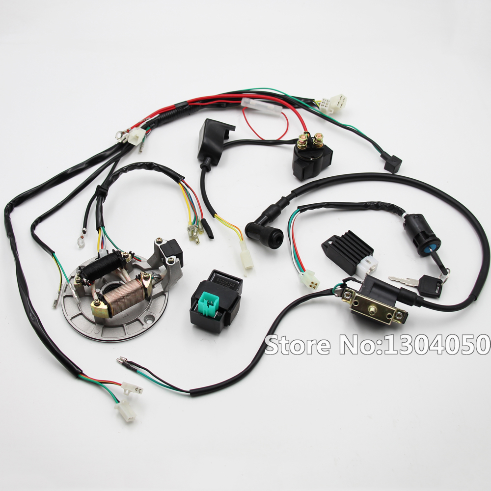 Wire loom Magneto Key Solenoid Coil Regulator CDI 50cc 70cc 90cc 110cc 125cc Dirt Pit Bike high qualtiy oil cooler for 50cc 70cc 90cc 110cc dirt bike pit bike monkey bike dax pocket bike atv motorcycle