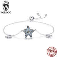 VOROCO 100 Pure 925 Sterling Silver Blue Statfish And Shell Chain Crystal Silver Bracelets Bangles For