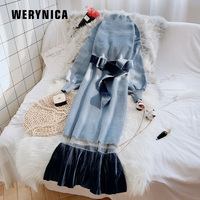 Werynica Women Dress 2019 Knitted Sash Dress Spring Autumn Ladies Sweater Dress Long Sleeve Vintage Women Dress With Lace