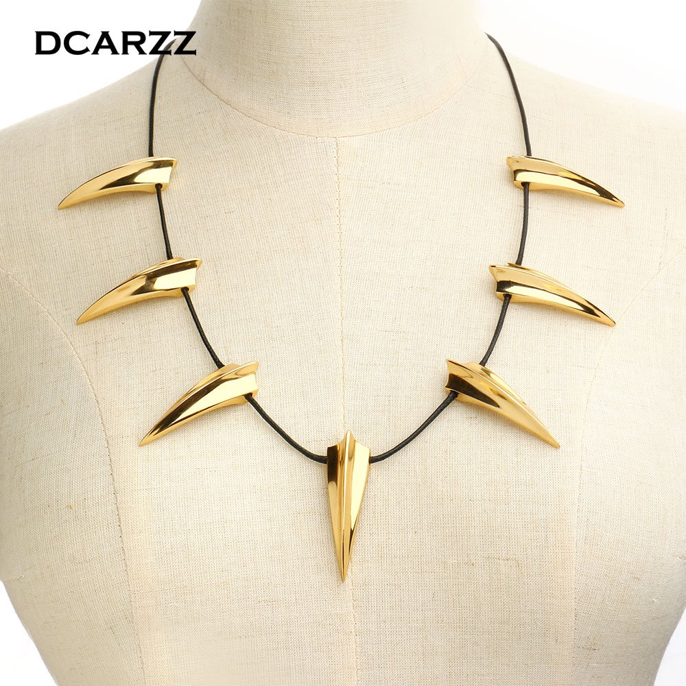 Black Panther Choker Necklace King of Wakanda TChalla Necklace Silver Color Plated Movie Cosplay Jewelry Accessories for Men