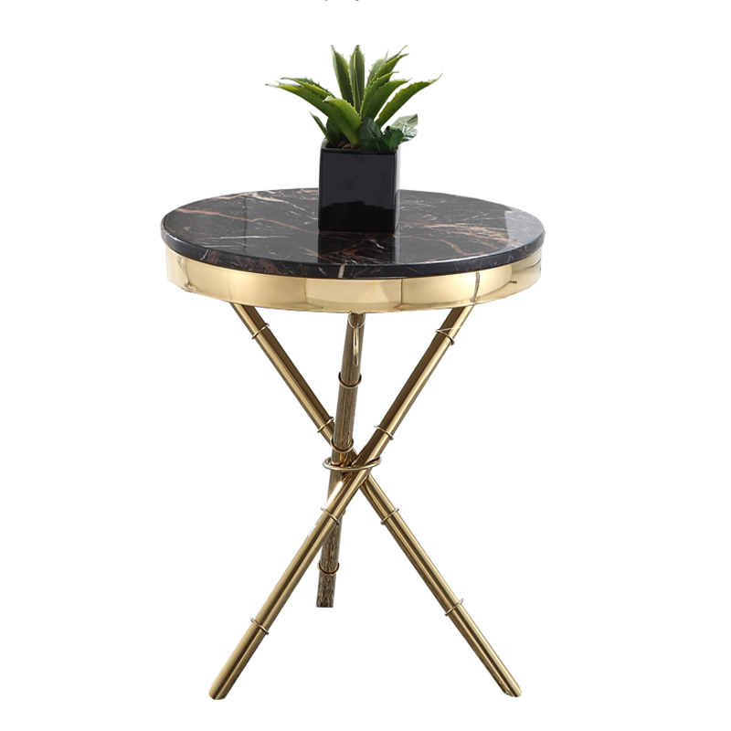 Or coin or-plaqué ronde table basse en acier inoxydable coin marbre table d'appoint