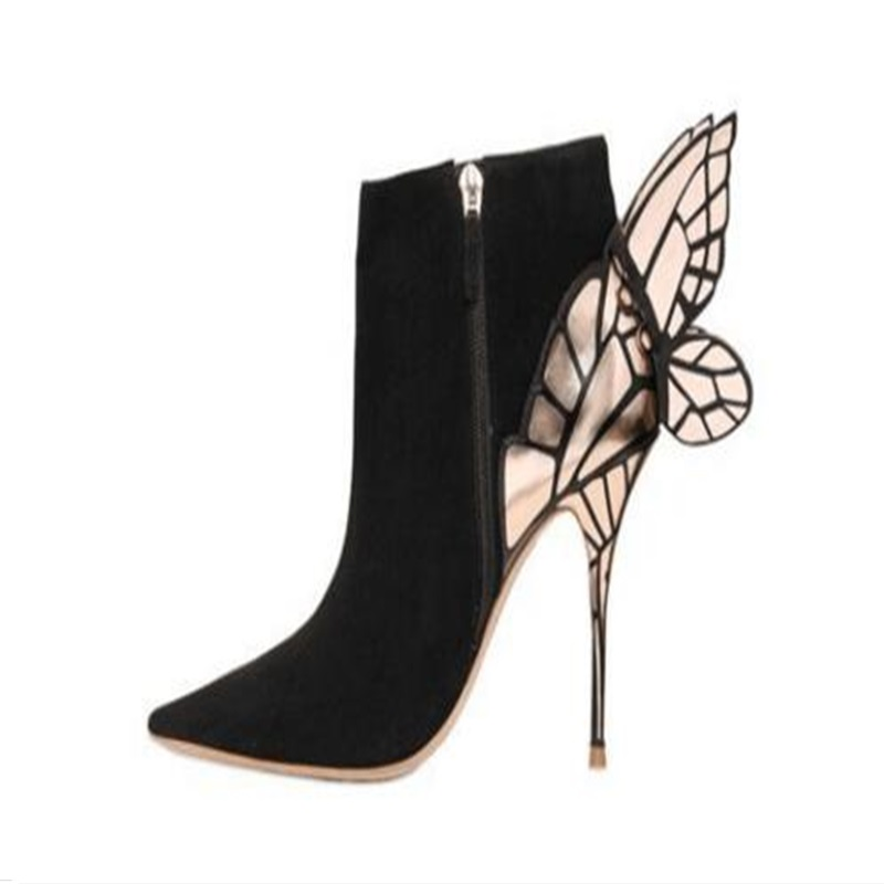 все цены на Gorgeous black suede woman boots pointed toe thin high heel metal butterfly embellished woman dress ankle boots high quality