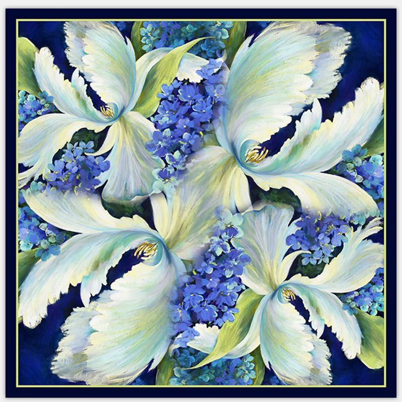 Fabulous Pattern 100% Silk Twill   Scarf   Women Ladies Square Silk   Scarves     Wraps   Shawl Charming Clothing Accessory 90x90cm