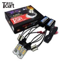 Tcart 2pcs Auto Led DRL Daytime Running Light Turn Signals PY21W 1156 Car White Golden Lamp