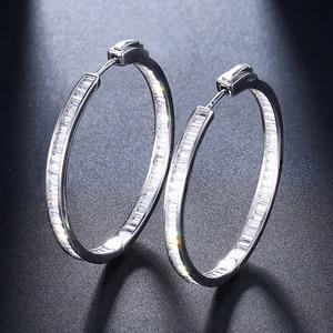 Image 2 - Luxo 38mm de diâmetro real prata hoop brinco t quadrado cz jóias 925 prata esterlina grande círculo brincos para noite barra festa