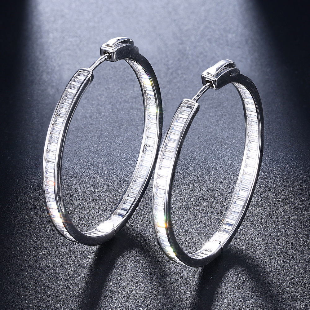 Image 2 - Luxury 38mm diameter Real silver hoop earring T square CZ jewelry