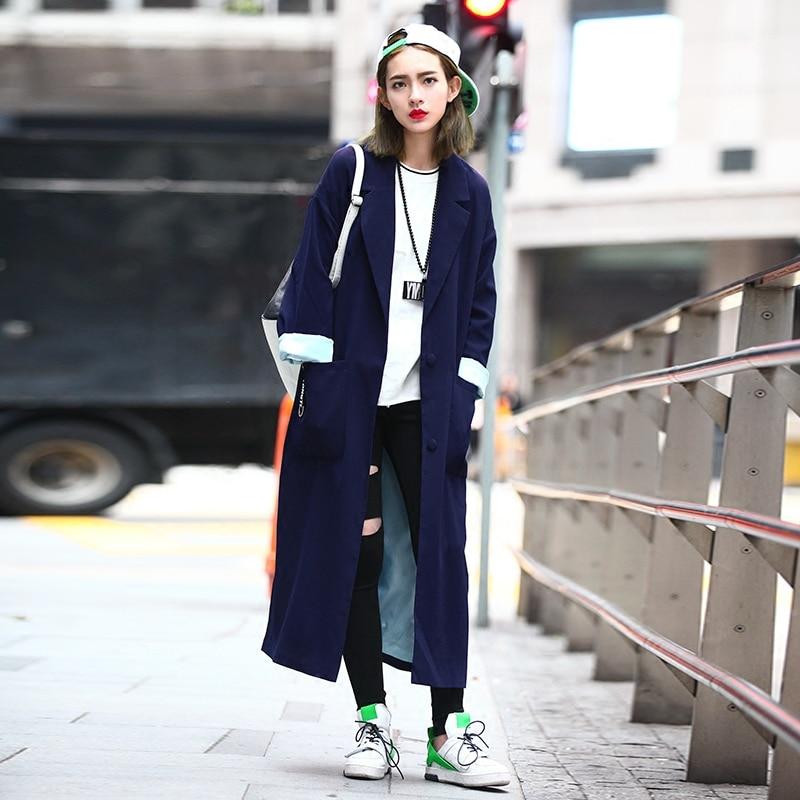 Vêtements Manteau Femelle twotwinstyle pu Ciel Occasionnel Nouveau 2016 Style Section D'origine Street Longue Femmes Printemps Lâche fente Bleu De Haute aa8Uzqwn