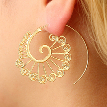 E0446 Simple Spiral Hook Earrings For Women Gold Color Exaggerated Circle Leaf Whirlpool Gear Earrings Fashion Indian Jewelry