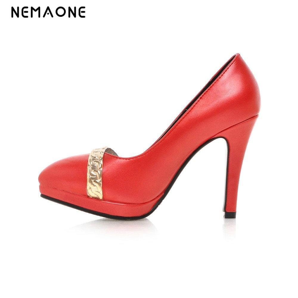 NEMAONE Fashion Platform Women Pumps Sexy High Heeled Shoes Thin Heels Round Toe Platform Shoes Women's Wedding Shoes Size 34-43 avvvxbw 2017 spring women s pumps high heels platform shoes diamond peep toe thin heels sexy women s wedding shoes pumps c372