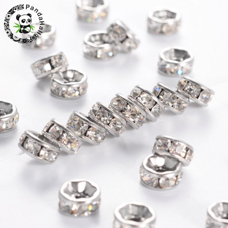 200pcs 6mm Disc 316 Stainless Steel Spacer Beads with Rhinestone For Jewelry Making Stainless Steel Color