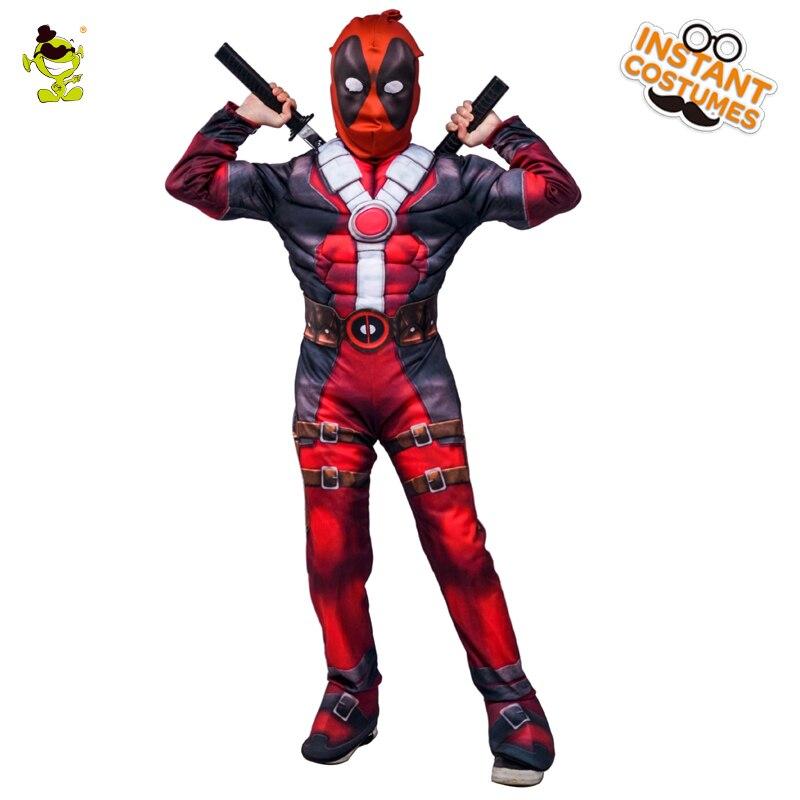 2018 nueva llegada Deluxe chicos Marvel Deadpool traje niños músculo película carnaval fiesta de disfraces de Halloween Cosplay