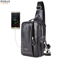 VICUNA POLO High Quality Double Pocket Men S Chest Bag With USB Charging Casual Shoulder Bag