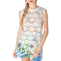Fashion Lace Tops Women Sexy Bohemian Round Neck Sleeveless Sexy Blusa Women Cute Blusas Summer Brand Hollow Out Tops White