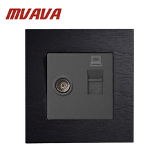 MVAVA 86*90MM Black Wooden Series Panel 2 Gangs Wall Computer And TV Socket / Outlet Without Plug Adapter Manufacture livolo manufacture grey glass panel 2 gangs wall computer and tv socket outlet vl c791vc 15 without plug adapter