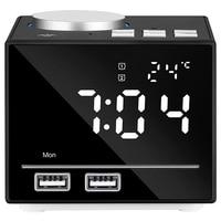 ABFP US Plug 1Set Bluetooth Color Changing Alarm Clock Fm Radio With Usb Charging And Speakerphone