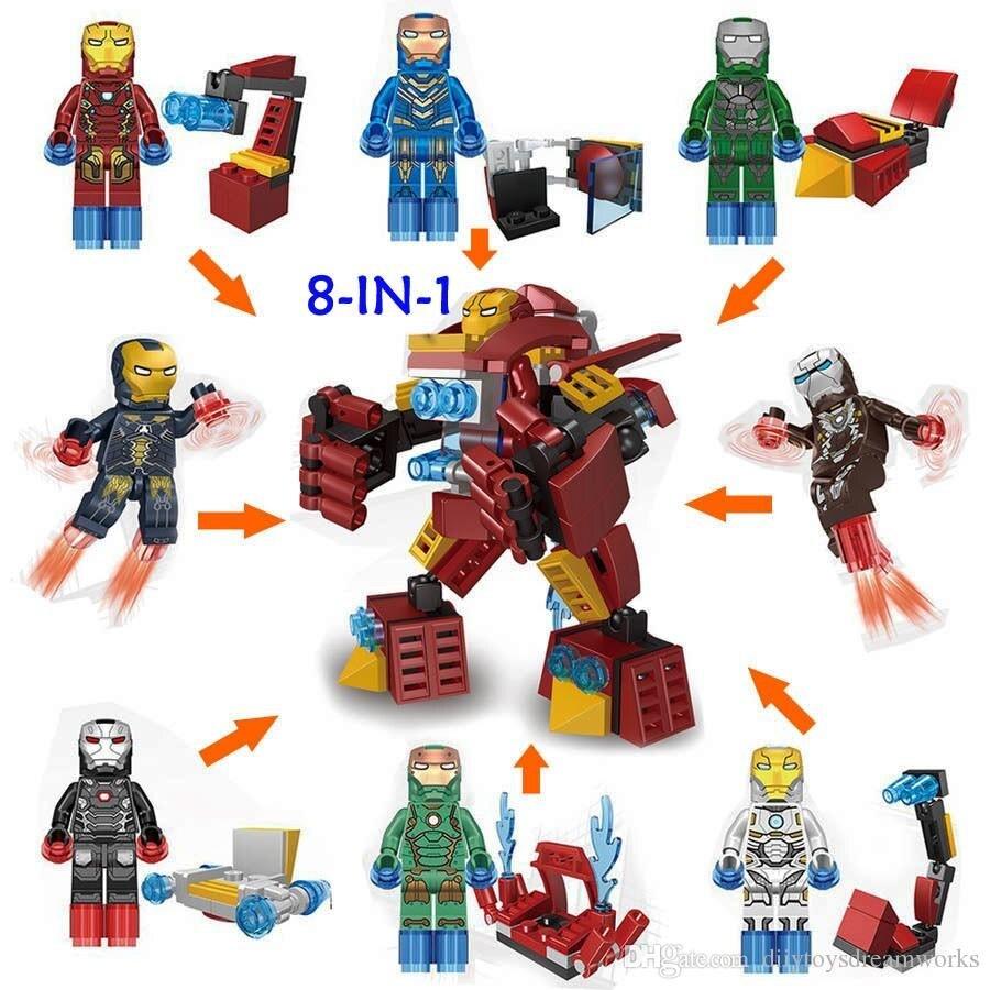 8 in 1 Super Heroes Avengers Iron Man Bricks Minifigures Building font b Blocks b font
