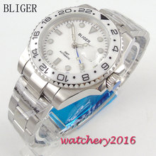 цена 40mm Bliger White Dial Ceramic bezel Luminous Hands Deployment Clasp Sapphire Crystal GMT Automatic Movement Men's Wristwatches онлайн в 2017 году
