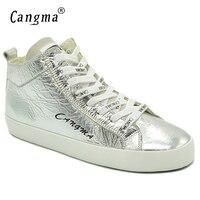 CANGMA известные платформа Женские Кроссовки Mid лакированной Пояса из натуральной кожи Обувь Женская Кружево до серебра ручной работы обувь ж