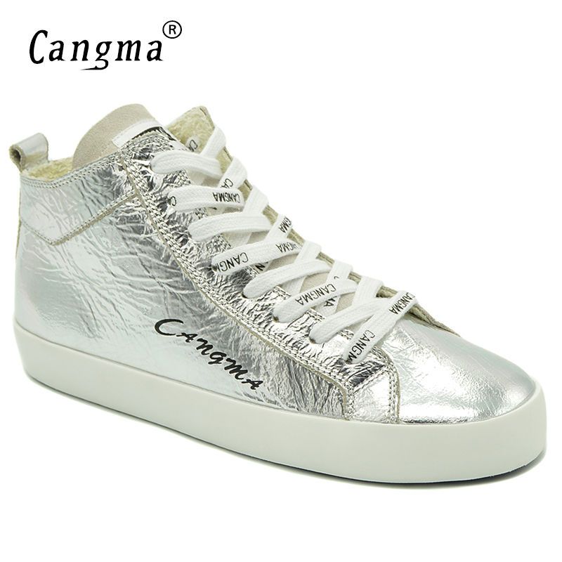 CANGMA Famous Platform Sneakers Women Shoes Mid Patent Genuine Leather Shoes Woman's Lace Up Handmade Silver Footwear Female cangma original black footwear woman s casual shoes mid genuine leather sneakers women trainers female adult handmade shoes