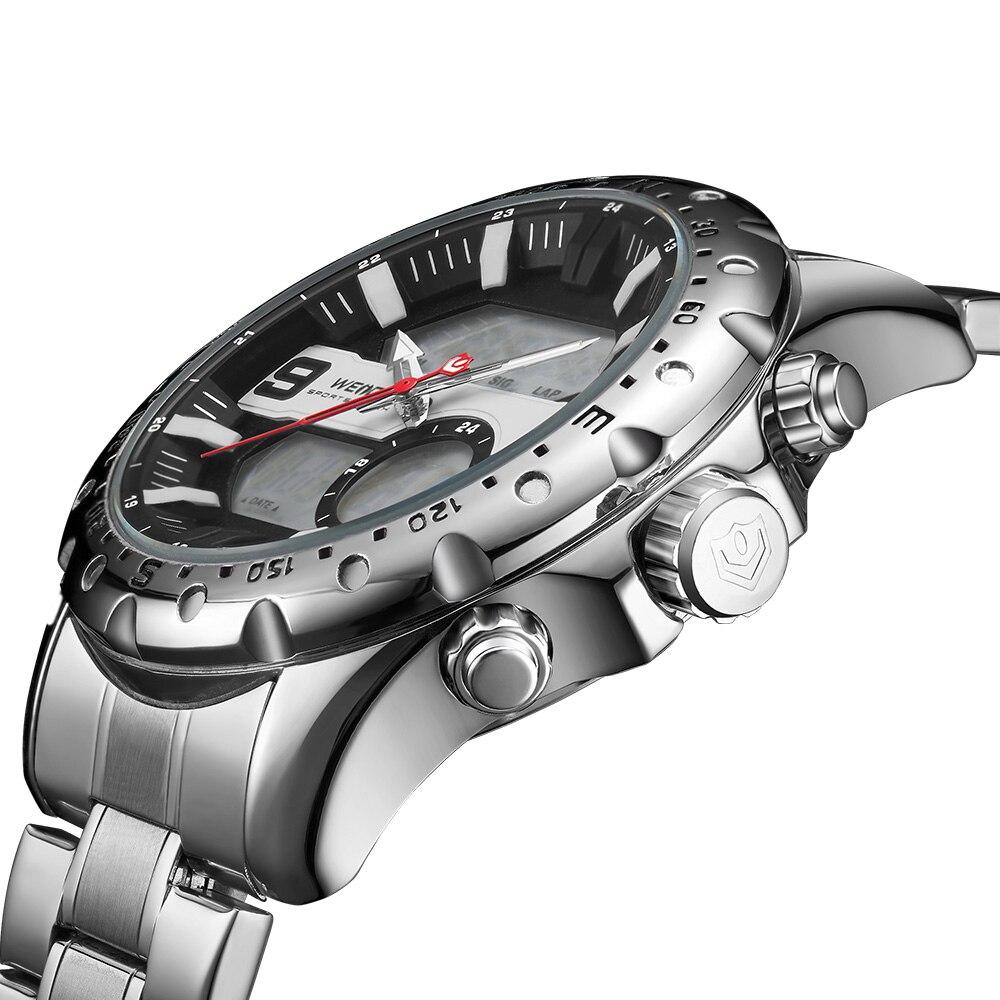 WEIDE Top Marque De Luxe Montres À Quartz Hommes LED Numérique Horloge Homme Sport Militaire En Acier Inoxydable Montre-Bracelet Relogio masculino