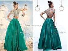 New Style long 2 piece prom dresses 2015 Cap Sleeve Emerald Green O-neck Transparent Back Crystal Women a-line evening Dress 2 piece 2 2015