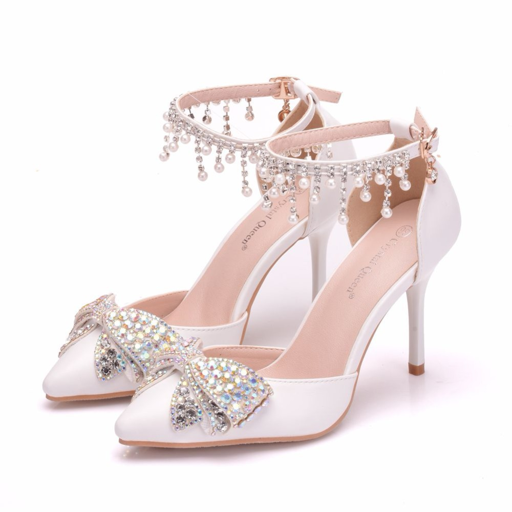 Crystal Queen Women Sandals Thin Heels Pointed Toe Shoes White Wedding  Bridals Shoes Plus Size 42 -in High Heels from Shoes on Aliexpress.com  56c027ad232a