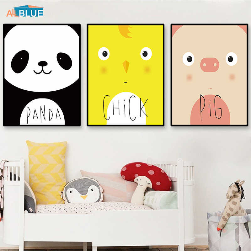 Panda Pig Chicken Wall Art Canvas Poster Nordic Kids Cartoon Cute Animal Posters And Prints Wall Pictures For Baby Nursery Room