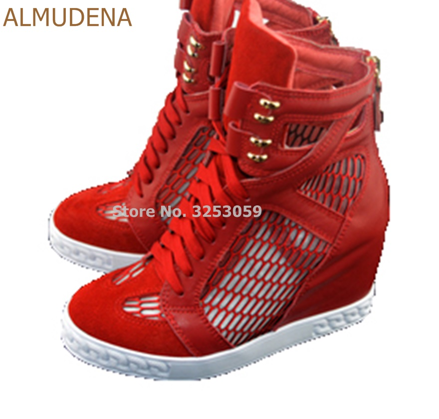 ALMUDENA Girls Red Lemon Patchwork Breathable Hollow Out Sneakers 8cm Wedge Heel Height Increasing Ankle Boots Leisure Shoes lace patchwork hollow out shirt
