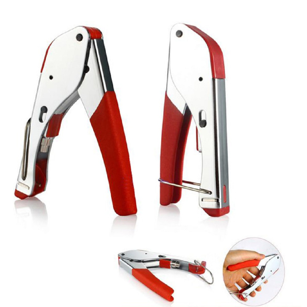 Crimping Tool RG59/RG6 Coaxial Plier Network Cable Stripper Wire Crimper Stainless Steel Cable Cutter Tool dwz stainless steel metal pliers crimper tensioner cutter tool cable tie fasten tool