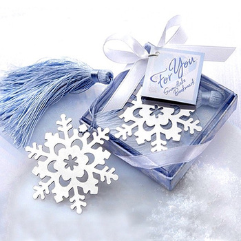 80PCS Home Party Favor Supply Baby Shower Christening Wedding Favour Creative Snowflake Bookmark With Blue Tassel GIft Box