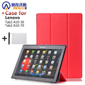 "Fashion Case Tab2 A10 70 Filp PU Leather cover case For lenovo tab 2 a10-70 10.1"" X30F a10-30 10"" High Quality  case+film+stylus"
