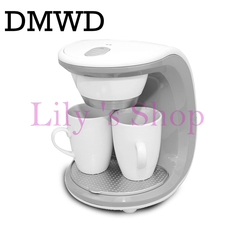 DMWD American automatic drip coffee maker teapot tea boiler mini Household Electric pump pressure cafe Coffee machine EU US plug edtid 12kgs 24h portable automatic ice maker household bullet round ice make machine for family bar coffee shop eu us uk plug