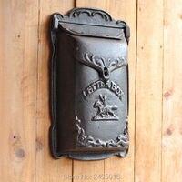 Cowboy Cast Iron Mailbox Metal Mail Box Wall Mount Lockable