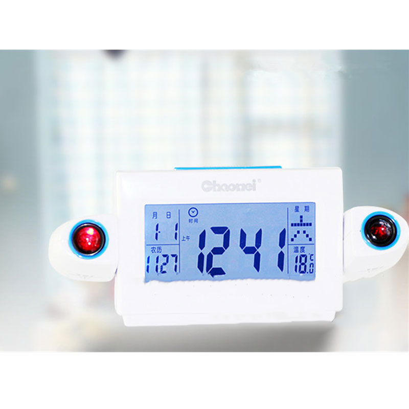 2019 New Electronic Alarm Clock LCD Display Snooze Alarm Clock LED Backlight Bell Timer Projection Digital Alarm for Bedroom