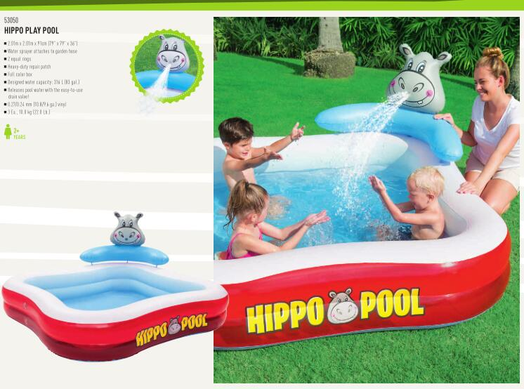 s 53050 Bestway 79x79x36/2.01mx2.01mx91cm Hippo Play Pool ...