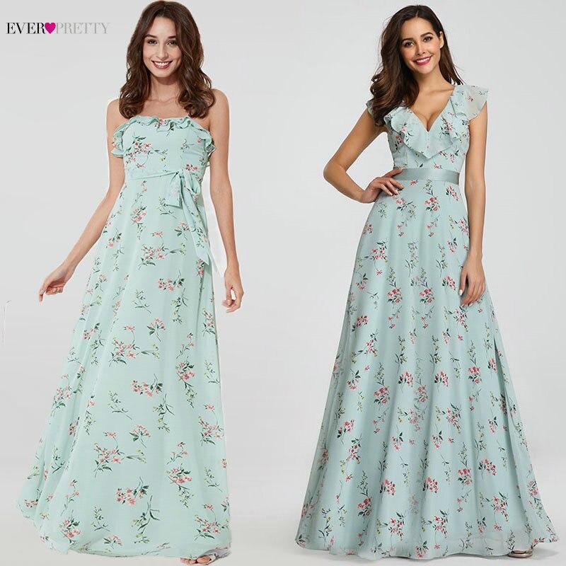 Ever Pretty New Women Elegant Bridesmaid Dresses A Line Sleeveless Sexy Ruffles Split Long Wedding Guest Party Bridesmaid Dress