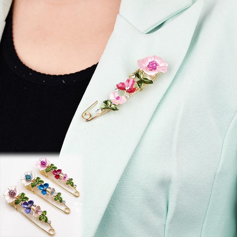 LNRRABC Elegant Crystal Flower Scarf Buckle Brooch Pin Lapel Pin Collar Women Girl Pins Badges For Clothing Ornament ...