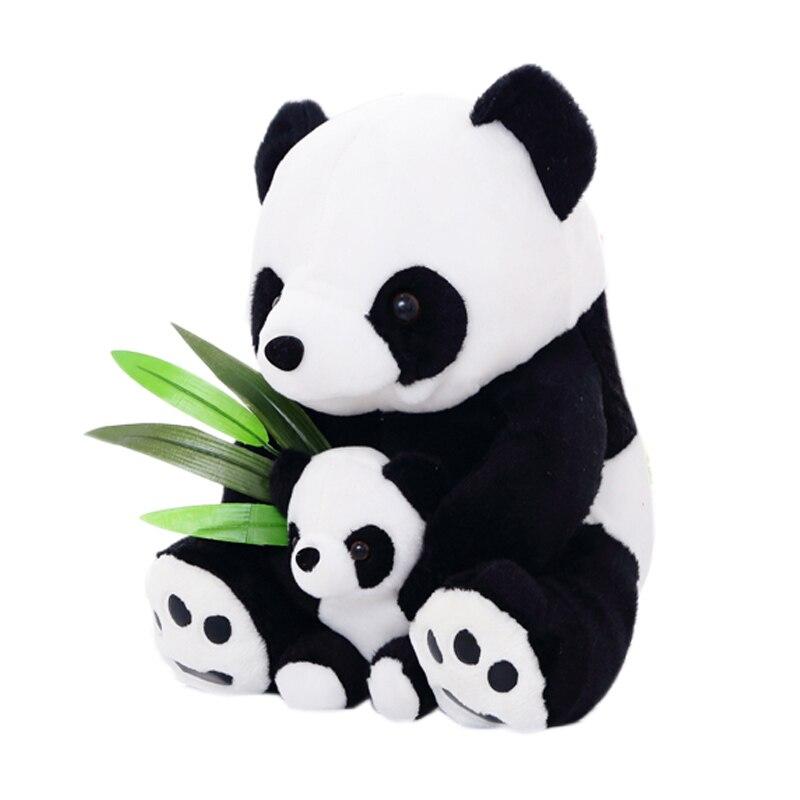 25CM/33CM Sitting Mother & Baby Panda Plush Toys Soft Stuffed Dolls Pillows Kids Toy Gifts @ZJF kids toys plush panda doll cute red panda simulation animal raccoon dolls holiday gifts