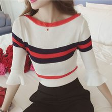 Brand New Women Flare Sleeve Pullover Women Basic Sweaters Women 2018 Korean Style Knit Tops Femme(China)