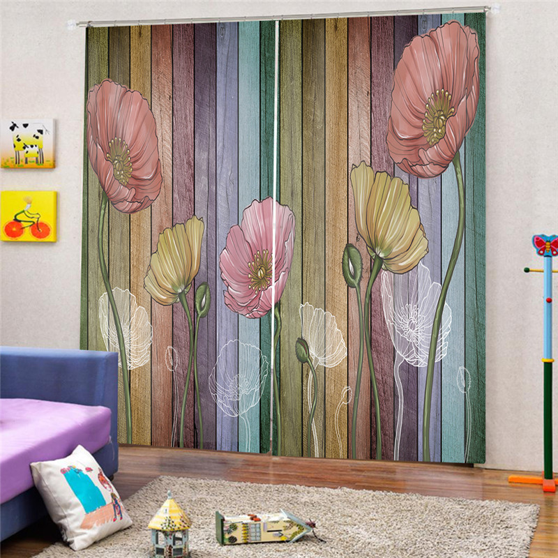 Lotus Print Sheer Curtains For Living Room Bedroom Kitchen Printed Window Curtains 3D Digital Print JUN3