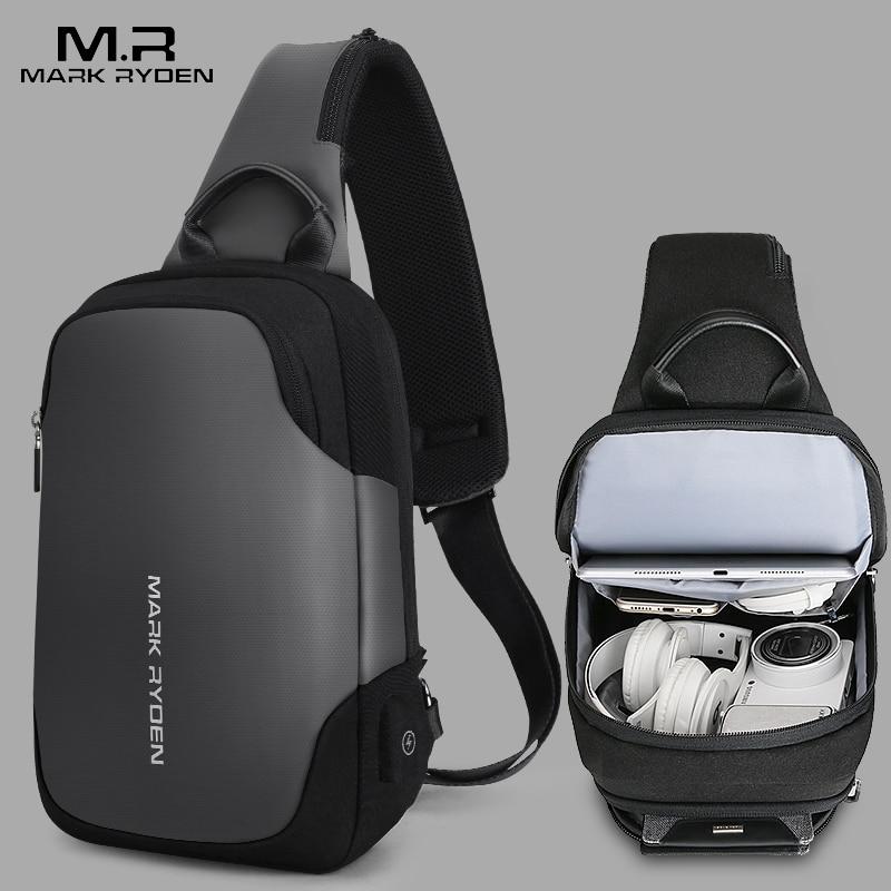Mark Ryden New Anti thief Crossbody Bag Water Repellent Men Shoulder Bag 9.7 inch Ipad Fashion Chest Bag
