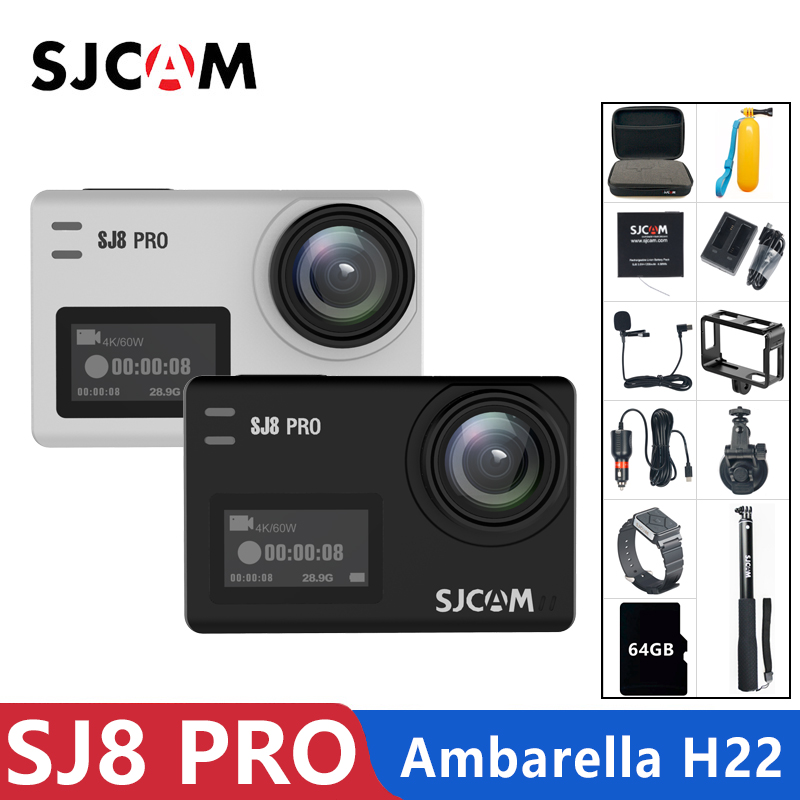 Original SJCAM SJ8 Pro Action Camera 4K 60FPS WiFi Remote Helmet Camera Ambarella Chipset 4K 60FPS