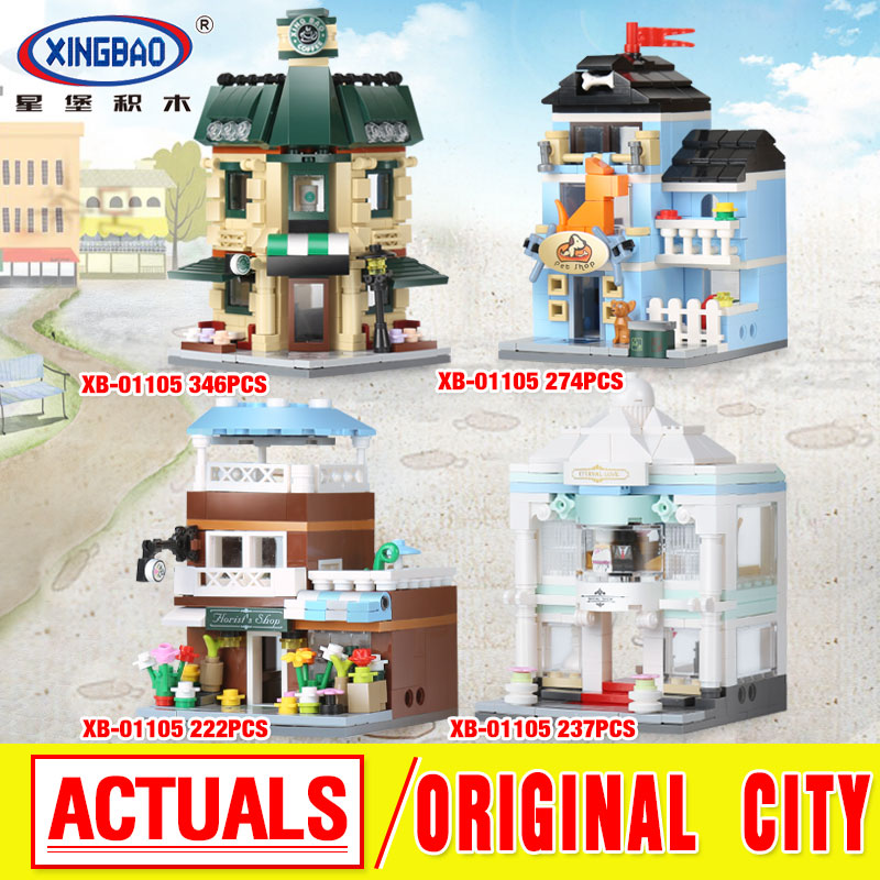 XingBao 01105 Genuine 1079 Pcs The Coffee Shop Wedding Store Flower Shop Pet Shop Set 4 in 1 Building Blocks Bricks Toys Model human in the store there are surprises low price store products lp st cheap suitcase