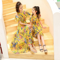 Mother Daughter Dresses Family Matching Outfits Flower Family Look Matching Clothes Mom And Daughter Dress Drop