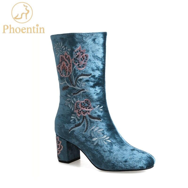 Phoentin blue embroider mid calf boots with zipper flower long & short boots woman velvet fashion women footwear 2018 new FT442
