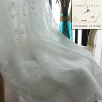280cm Wide White Flowers Embroidery Sheer Curtain Fabrics Shower Window Curtains Cloth Drapes Fabric Tulle Fabric