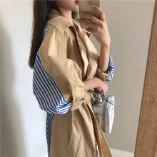 Women Windbreaker Long Spring Chic Coats Female 2019 New Pleated Splice Overcoat Loose Outwear Thin Casual Womens Trench Coat(China)