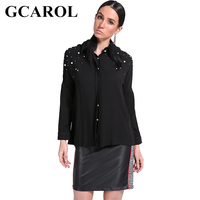 GCAROL 2018 New Arrival Beading Pearls Women Blouse OL Elegant Work Shirt 3 Colors High Quality