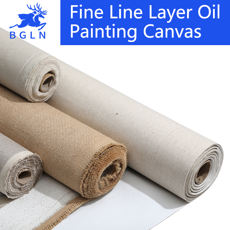 BGLN Linen Blend Primed Blank Canvas For Painting High Quality Layer Oil Painting Canvas 1m One Roll ,28/38/48/58 Width image
